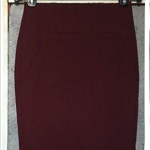 NWT Ann Taylor Burgundy Pencil Skirt Womens Size 0